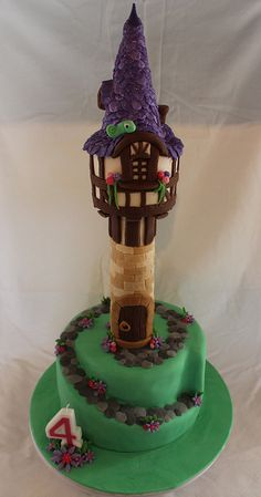 Ultimate Tangled/Rapunzel Tower Birthday cake!  Everything Edible....... (except the candle of course)