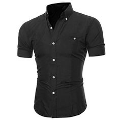 4968c3d4ffe9 WYTong Mens Slim Fit Casual Solid Shirt with Button Round Neck Short Sleeve  T-Shirt Tee