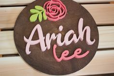 Decorate your nursery with this stylish, modern wooden name sign! Everything is hand crafted with a whole lot of love!  Each piece will be cut, sanded, painted and stained by hand. The stain may vary due to the grains and knots from the wood. That is what makes your sign so unique! Wood Name Sign, Wood Names, Wood Letters, Name Signs, Wood Signs, Personalized Wooden Signs, Nursery Signs, Handmade Wooden, Paint Colors