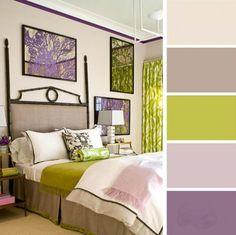 paleta de colores para dormitorio lila verde limon grises