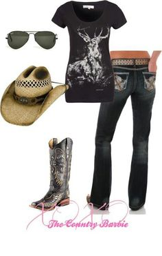 A fashion look from January 2013 featuring Wrangler t-shirts, Wrangler jeans and Ray-Ban sunglasses. Browse and shop related looks. Country Girl Outfits, Country Girl Style, Country Fashion, Cowgirl Outfits, Cowgirl Style, Country Girls, Country Western Outfits, Southern Style, Mode Country