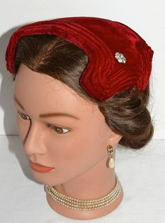 Vintage Red Velvet Sculpted Toque Headband Cocktail Dress Hat with Rhinestones 1950s 1960s