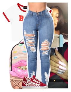 A fashion look from December 2017 featuring white shirt, skinny jeans and checked bag. Browse and shop related looks. Cute Swag Outfits, Chill Outfits, Dope Outfits, Trendy Outfits, Vans Outfit Girls, Teen Fashion Outfits, Tween Fashion, Outfits For Teens, Fashion Fashion