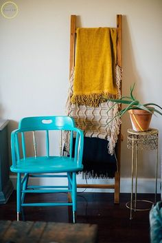 We have a few dull kitchen chairs that could use a spruce up like this!