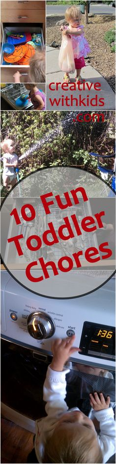 Toddler Chores - fun things for your helper to do.