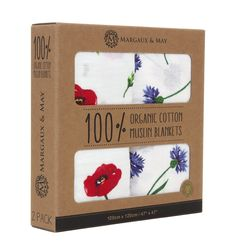 Organic Swaddle Blankets - Poppies & Corn Flowers