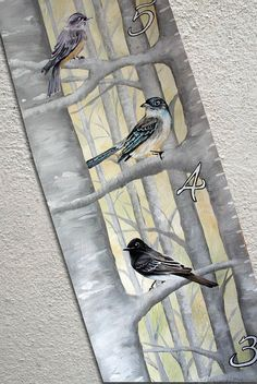 Canvas Growth Chart Custom Pheobe Birds Birch by SweetDreamMurals, $75.00