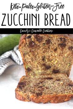 Zucchini Desserts, Gluten Free Zucchini Bread, Zucchini Banana Bread, Chocolate Chip Zucchini Bread, Zucchini Bread Recipes, Keto Chocolate Chips, Gluten Free Recipes, Low Carb Recipes, Paleo Zucchini Muffins