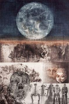 Artist:Jiri Anderle - Printmaker Title: Cruel Game for a Man Materials: Intaglio & Mezzotint Print