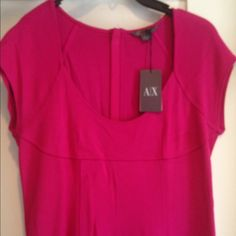 Magenta Armani Exchange stretch dress Brand new with tag. Never worn. Moved around with it. Tight fit. Rayon and nylon blend. Stretchy fabric. Black zipper on back. Scoop neck. Short sleeves. Amazing magenta color. Great spring color. Armani Exchange Dresses Mini
