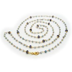 """Fronay Co, Blue Opal & Iolite Stone Necklace, 42"""""""