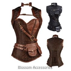 CC73-Steampunk-Boned-Corset-Brown-Leather-Gothic-Halloween-Top-with-Jacket