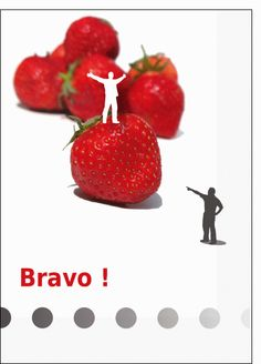 Carte Bravo avec des fraises pour envoyer par La Poste, sur Merci-Facteur !