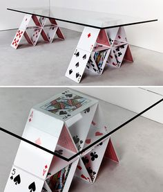 Playing Card Glass Table