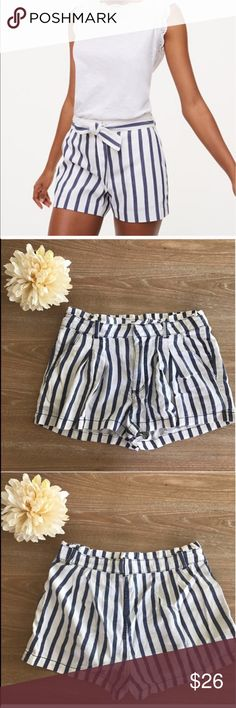 """FOREVER 21 SUMMER STRIPES SHORTS Condition: EUC, No flaws, no rips, holes or stains. Includes BELT as picture. Color blue/offwhite. First picture is model. All other pictures is real item that you will receive. Length:13"""" Smoke free home/Pet hair free No trades, No returns No modeling  Shipping next day. Beautiful package! I LOVE OFFERS, offer me! ALL ITEMS ARE OWNED BY ME. NOT FROM THRIFT STORES All transactions video recorded to ensure quality.  Ask all questions before buying #128 Forever…"""
