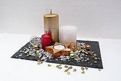 Svietidlá a sviečky - Vianočná dekorácia z bridlice na stôl - 6122294_