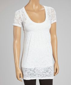 Look what I found on #zulily! White Burnout Empire-Waist Tunic by Sweet Girl #zulilyfinds