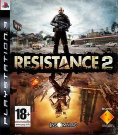 RESISTANCE 2  -  Is a science fiction first person shooter video game developed by Insomniac Games and published by Sony Computer Entertainment for the PlayStation 3. Resistance 2 is the sequel to the best-selling PlayStation 3 launch title Resistance: Fall of Man. Resistance 2 sees protagonist Nathan Hale travel to the United States in order to once again battle the Chimera, who have launched a full-scale invasion of both the east and west coasts.