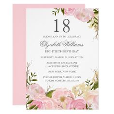 Pink Blush Watercolor Floral Birthday Invite handpainted Make your day special with these unique ideal for your wedding and Debut Invitation 18th, 18th Birthday Invites, 21 Birthday, Birthday Ideas, Pink Invitations, Wedding Invitations, Invitation Ideas, Yosemite Wedding, Best Wedding Planner