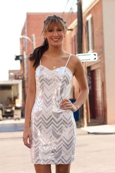 Chevron Sequin Dress #May23Online $44.00 #yalosangeles #fashion #sequindress