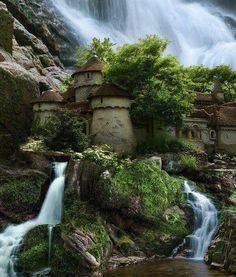 world-widee:A Beautiful Waterfall Castle, Poland! ~