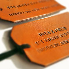 OwenAndFred.com: Custom Leather Luggage or Bag Tag, $40.00