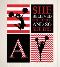 Girls inspirational art, motivational quote, cheerleader wall art, girls room cheer decor, girls wall art, chevron, teen girls art, set of 4 by PicabooArtStudio