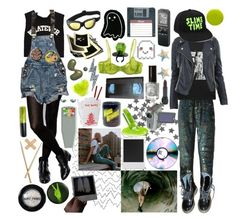 """weird science"" by seeroflight ❤ liked on Polyvore featuring Cynthia Rowley, ASOS, Ashish, Dr. Martens, CO, Sony, Manic Panic NYC, Cosabella, Polaroid and Lauren B. Beauty"