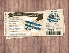Vintage Airplane Boarding Pass Birthday Invitation by LyonsPrints