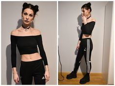 Get this look: http://lb.nu/look/8597713  More looks by Klaudia: http://lb.nu/braberry  Items in this look:  Adidas Pants, Buffalo Platforms   #90s #grunge #rave #choker #allblack #techno #offshoulder #spacebuns