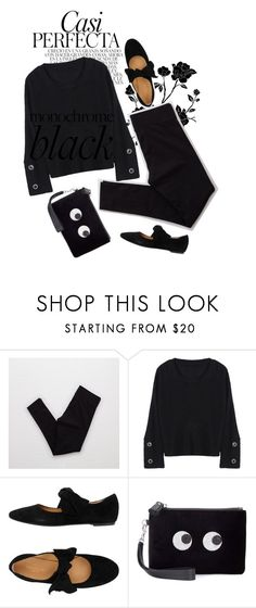 """""""Back to Black"""" by misty87 ❤ liked on Polyvore featuring Whiteley, American Eagle Outfitters, Anya Hindmarch, monochrome, black and allblack"""