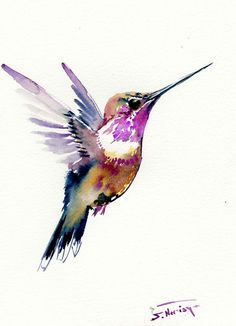 Hummingbird 12 X 9 in one of a kind watercolor art by ORIGINALONLY