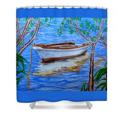 Boat Shower Curtain featuring the painting Shades Of Summer by Faye Anastasopoulou
