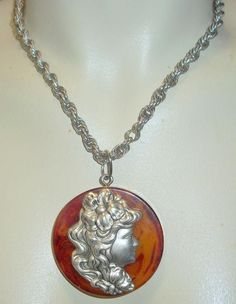 Bakelite Pendant Necklace With Silver Cameo #unbranded