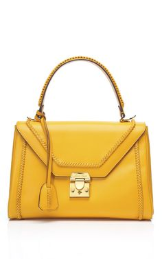Grandmom's bags are back in - Mark Cross Scottie Braided Small Flap Satchel in Yellow