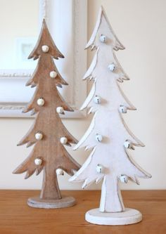 Christmas Tree Decorations - Wooden Christmas Trees - Shabby Distressed Style in White & Natural Wood with Tiny Bell Baubles. Sold as a Pair.