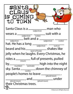 Santa Claus is Coming to Town Mad Libs - Buddy The Elf Holiday Games, Christmas Party Games, Christmas Activities, Christmas Traditions, Holiday Fun, Activities For Kids, Christmas Mad Libs For Kids, Enrichment Activities, Thanksgiving Games