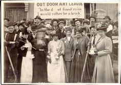 Members of the Out Door Art League posing on Kearny Street, 1906  San Francisco Public Library