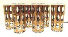 Six (6) CULVER Piza Gold Pattern Highball Tumbler Glasses 1960's RARE