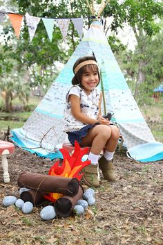 A perfect campground for your little one, made with Sarah Watson's new collection, Indian Summer! Image via Art Gallery Fabrics!