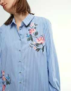 97ba1e1b 2017 New Women Fashion Blue Striped Blouse Shirt Collar Buttons up Front  Flowers Embroidery Cut out Back with big Metallic RING