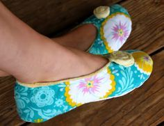 How to make fabric slippers. The tutorial is here:  http://www.prudentbaby.com/2010/10/how-to-make-fabric-slippers-with-free.html