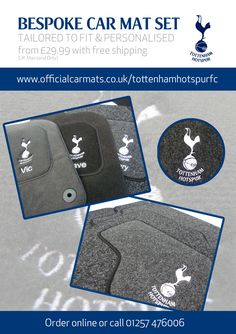 Ideal Spurs gifts for any Tottenham fan. Luxury Spurs personalised car mats with club badge & your name. Bespoke Cars, Tottenham Hotspur Fc, Car Mats, Furniture, Home Furnishings, Arredamento, Tropical Furniture