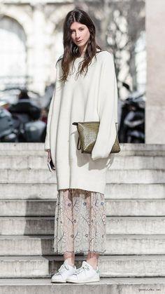 Layering, Paris street style, oversized sweater, maxi skirt, Stan Smith / Garance Doré