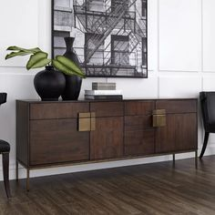 Store your extra dinnerware, flatware, and table linens in a buffet table or sideboard. Shop our great selection of stylish buffet tables and sideboards. Sideboard Dekor, Antique Sideboard, Sideboard Furniture, Modern Sideboard, Sideboard Buffet, Modern Furniture, Furniture Design, Antique Brass, Credenza