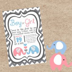 Gender Reveal Party Invitation Elephant by CreativeClouds05