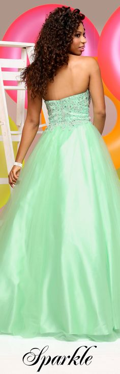 Sparkle Prom Style #71563 - Sweetheart strapless bodice with direct beading.  Full tulle ball gown with beading at waist.