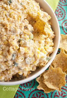 Cool, Creamy, Cheesy Corn Dip - sounds like something yummy for a summer barbecue! Finger Food Appetizers, Yummy Appetizers, Appetizer Recipes, Snack Recipes, Cooking Recipes, Snacks, Yummy Recipes, Cooking Stuff, Appetizer Ideas