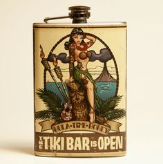 Tiki bar flask. Good place to keep a bit 'o rum when yer on the go! Aargh!