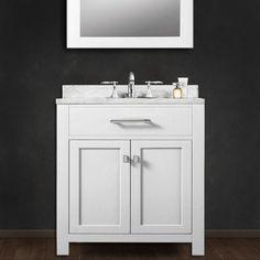 Madison Solid White Single Sink Bathroom Vanity | Overstock.com Shopping - Great Deals on Water Creation Bathroom Vanities